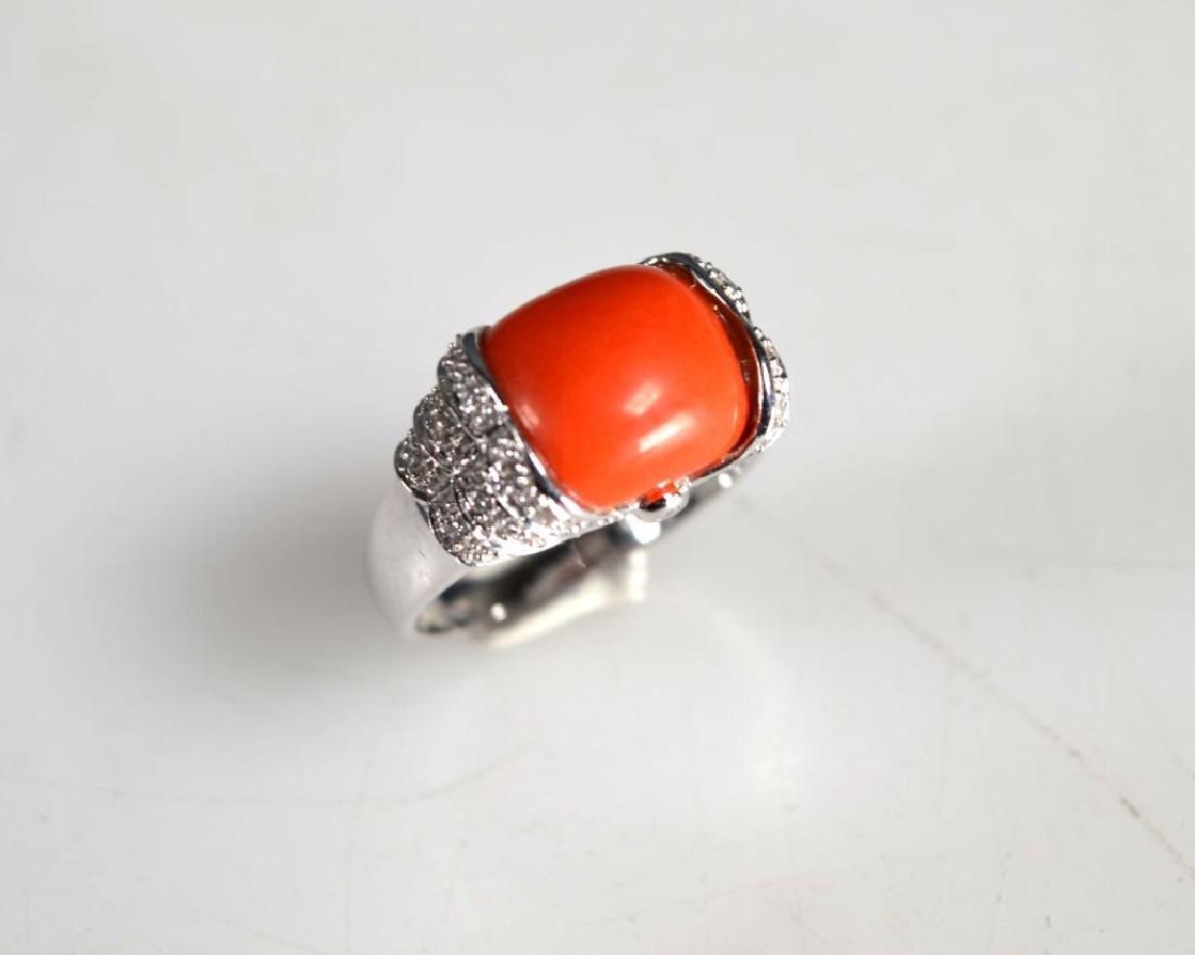 Le Vian: Coral Caochon, Diamonds, 14K Gold Ring
