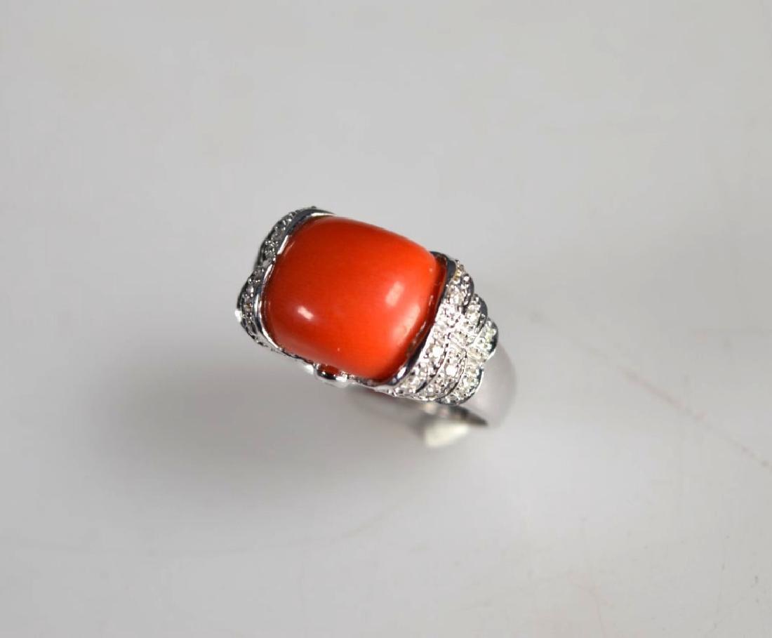 Le Vian: Coral Caochon, Diamonds, 14K Gold Ring - 2