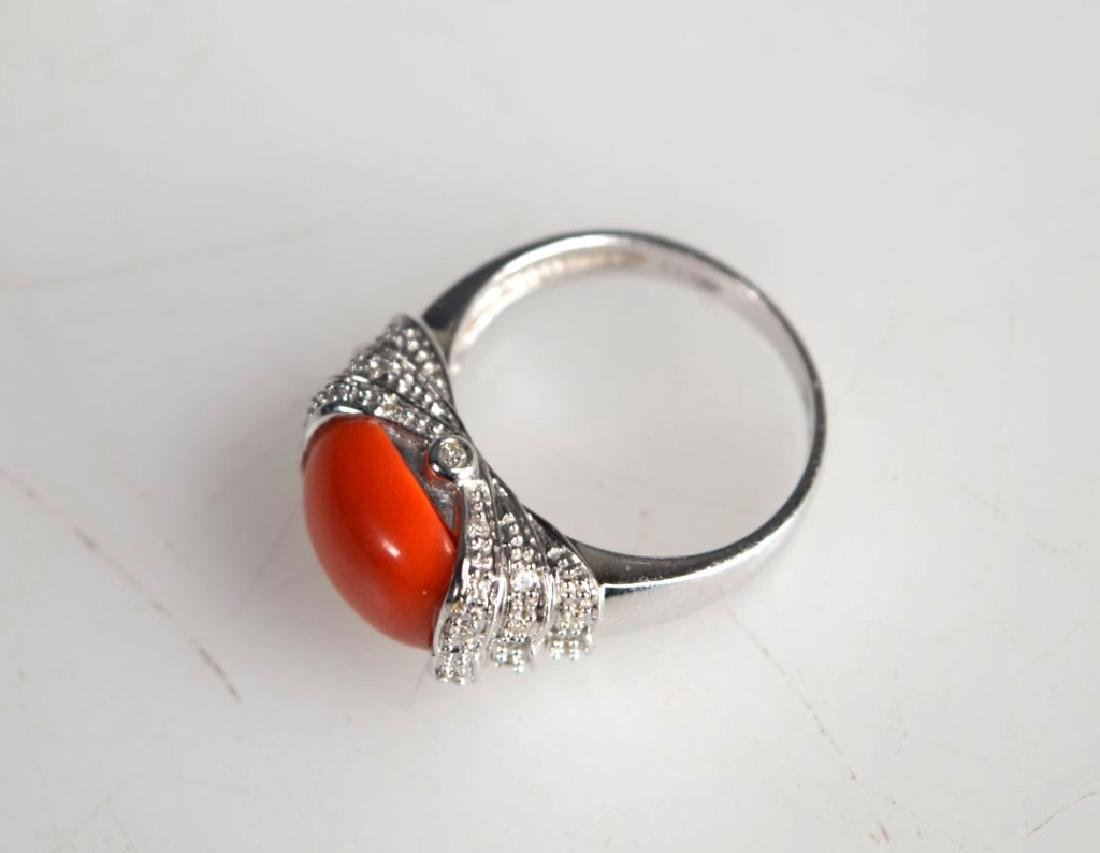 Le Vian: Coral Caochon, Diamonds, 14K Gold Ring - 3