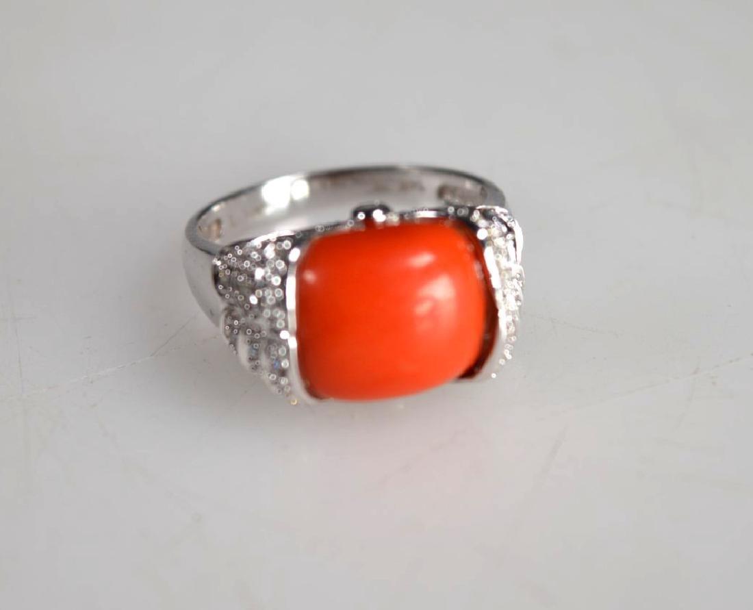 Le Vian: Coral Caochon, Diamonds, 14K Gold Ring - 5