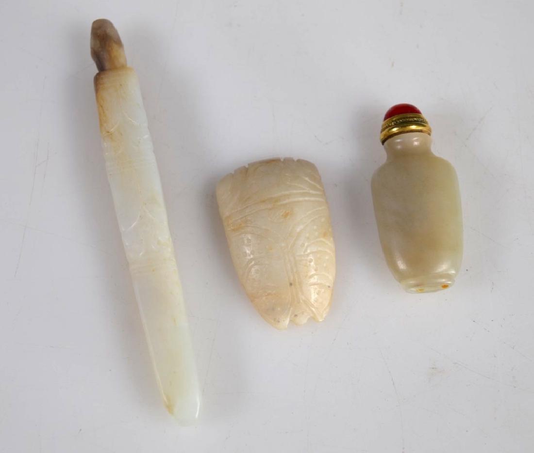 Miniature Chinese Jade Snuff; 2 Archaic Hardstones