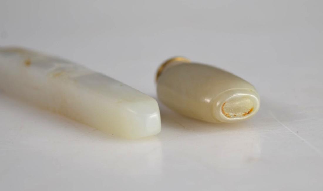Miniature Chinese Jade Snuff; 2 Archaic Hardstones - 8