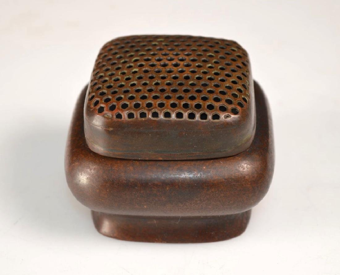 Chinese Patinated Bronze Censer & Cover