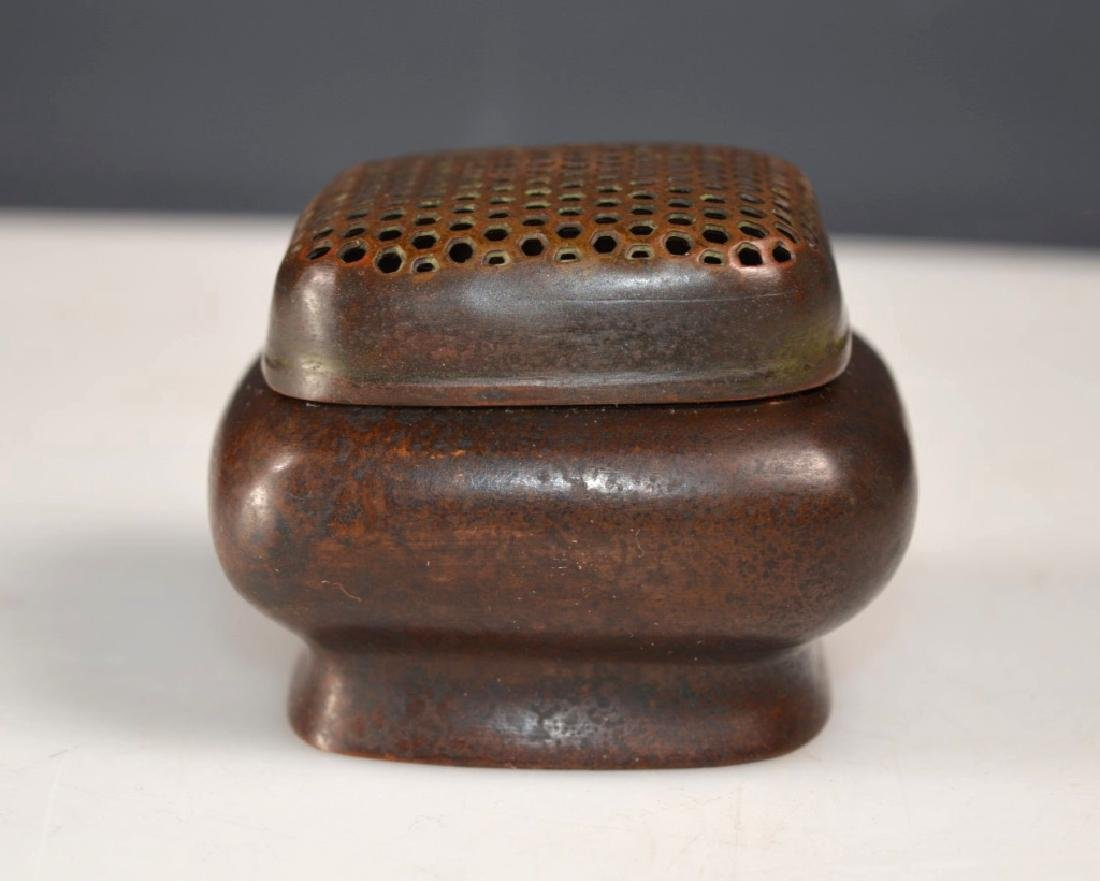 Chinese Patinated Bronze Censer & Cover - 2