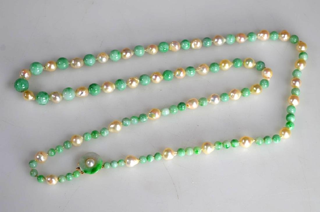 Chinese Jadeite round bead and Pearl Necklace, 14K