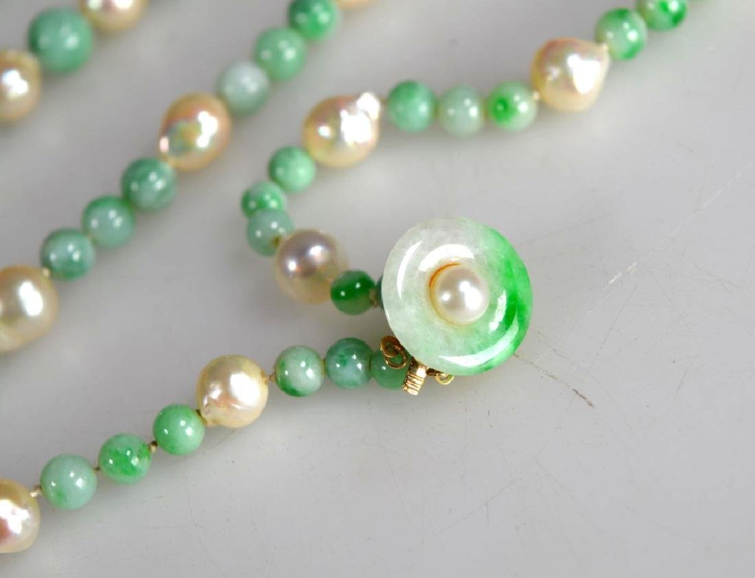 Chinese Jadeite round bead and Pearl Necklace, 14K - 2