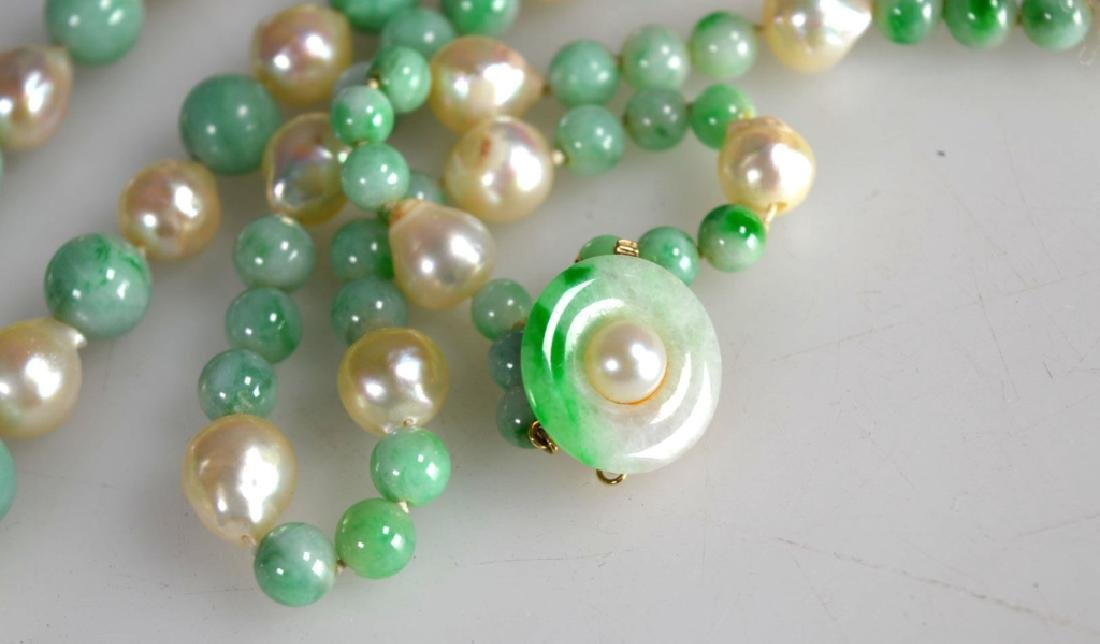 Chinese Jadeite round bead and Pearl Necklace, 14K - 3