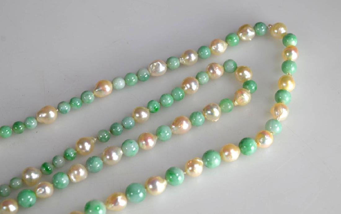 Chinese Jadeite round bead and Pearl Necklace, 14K - 5