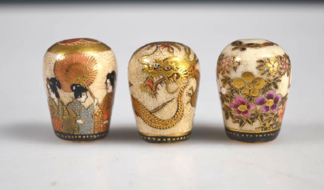 Three Fine Japanese Decorated Satsuma Finials