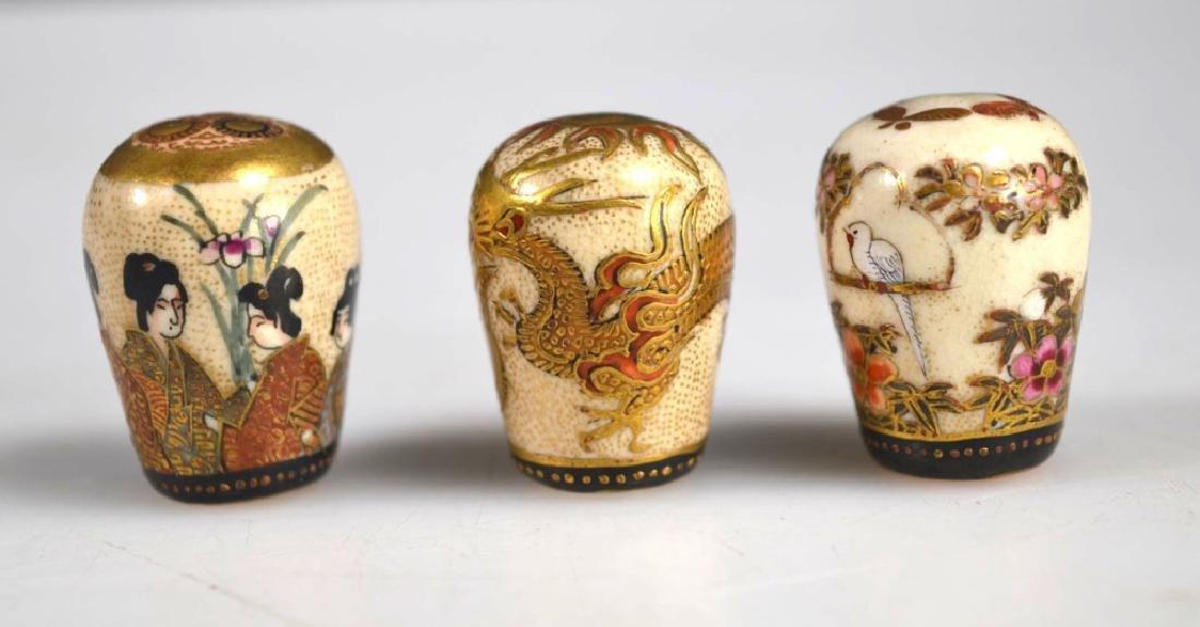 Three Fine Japanese Decorated Satsuma Finials - 2