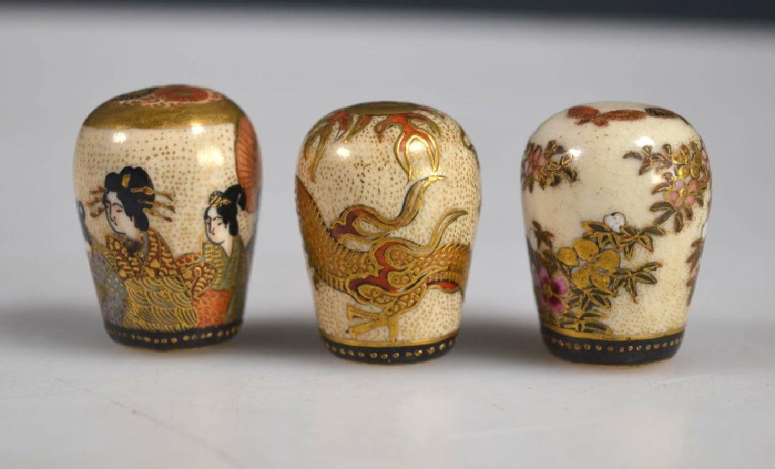 Three Fine Japanese Decorated Satsuma Finials - 3