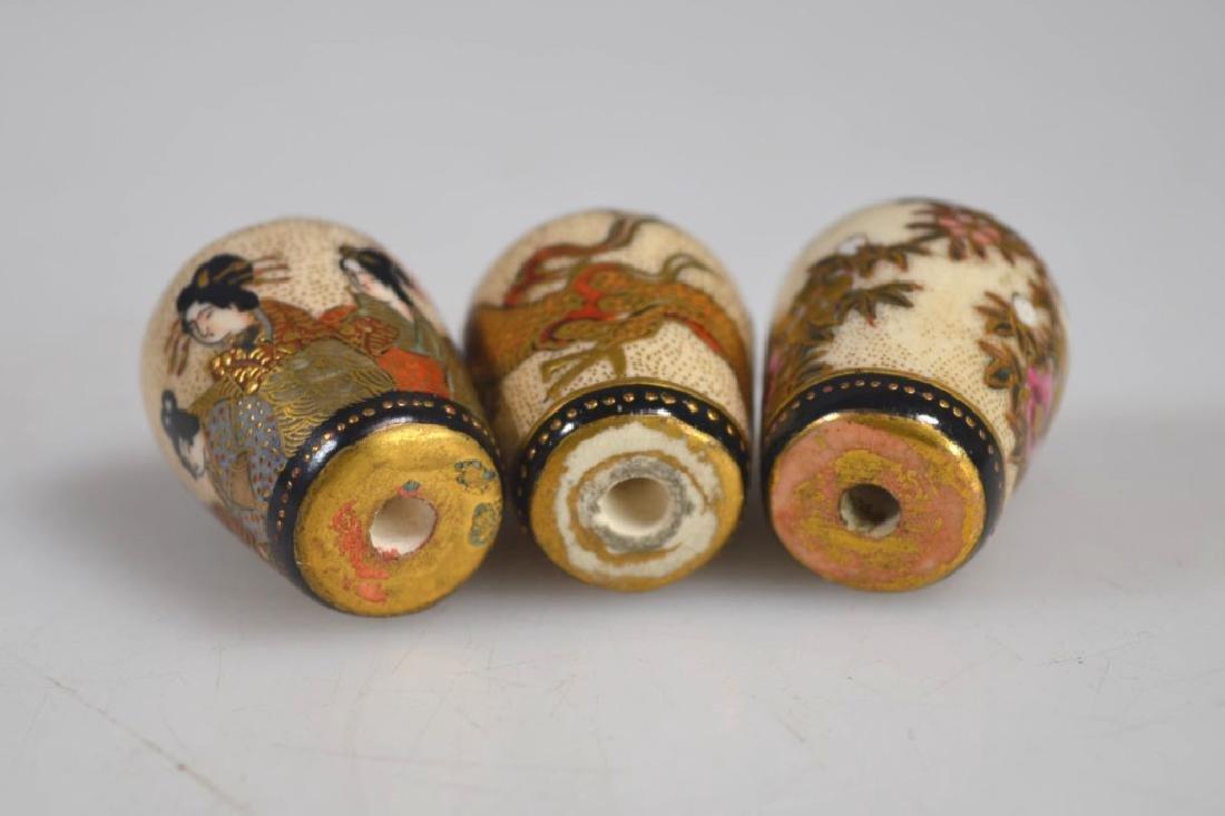 Three Fine Japanese Decorated Satsuma Finials - 5
