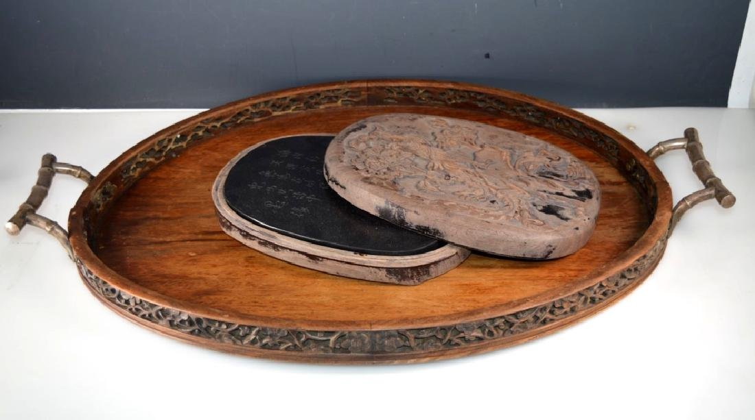Chinese Carved Yellow Hardwood Tray; Lg Ink Stone