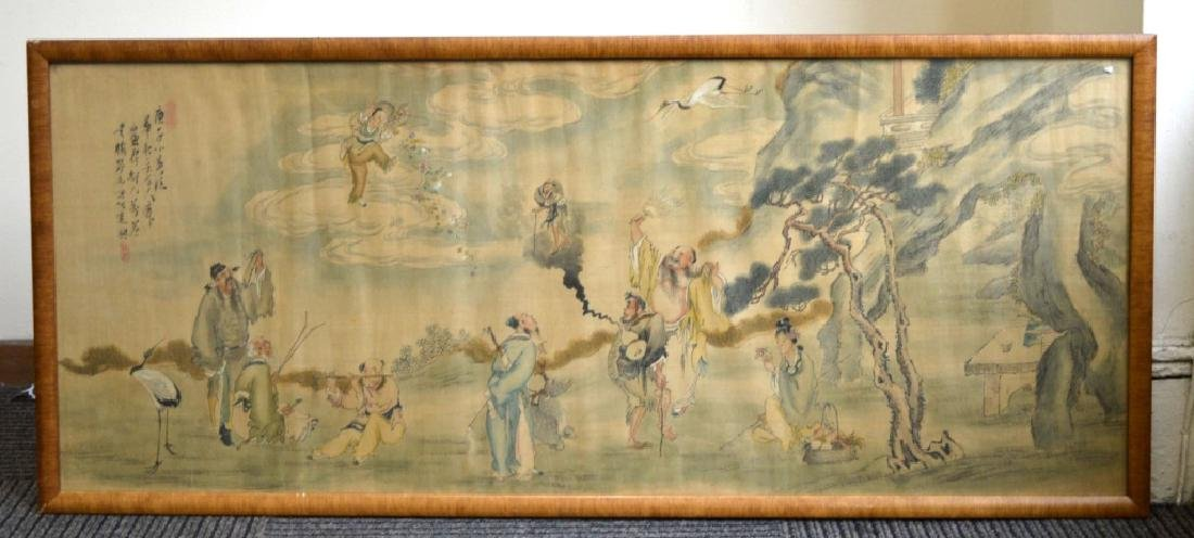Chinese Painting on Silk of the 8 Immortals