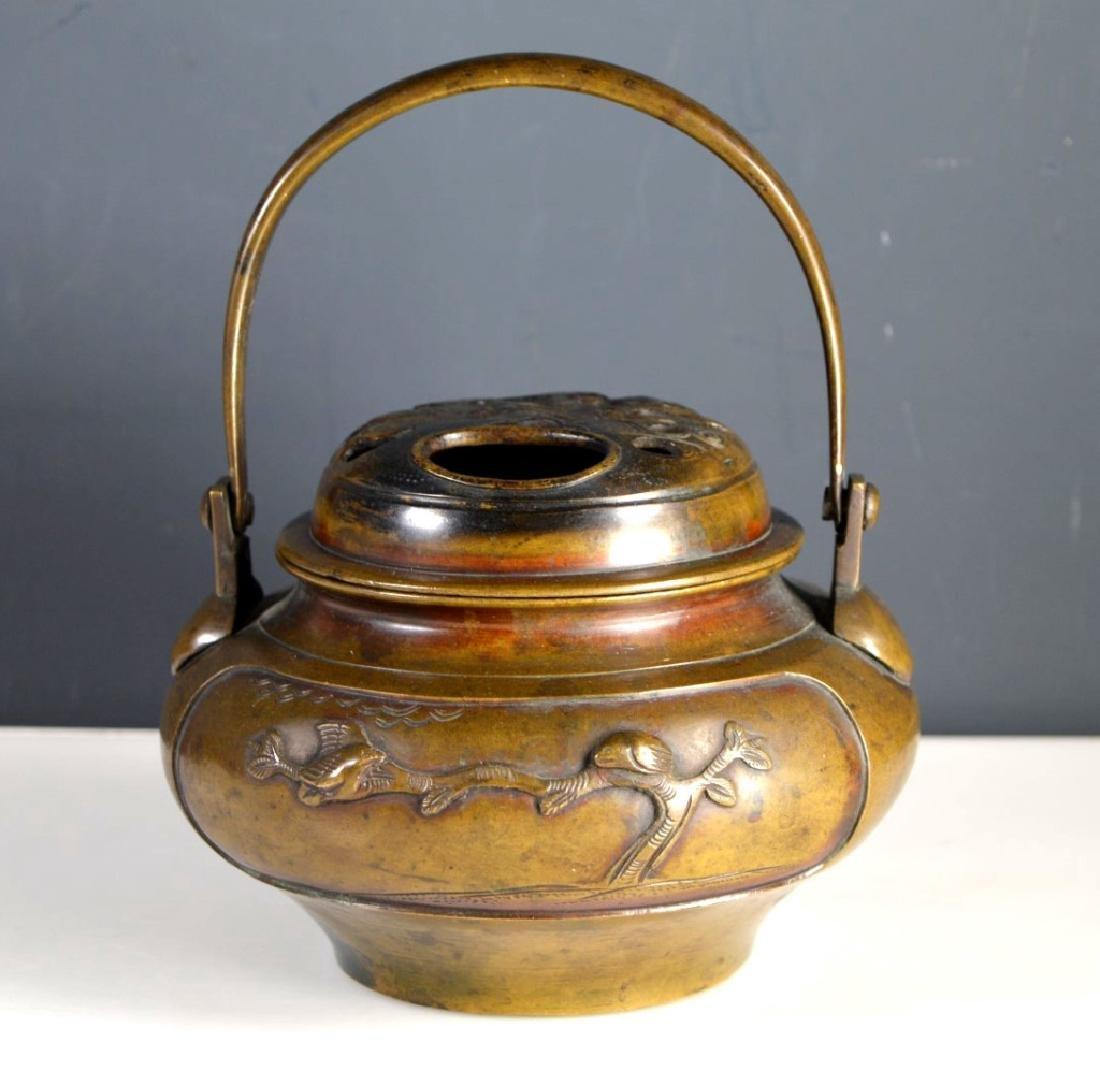 19th C Japanese Swing Handled Bronze Censer