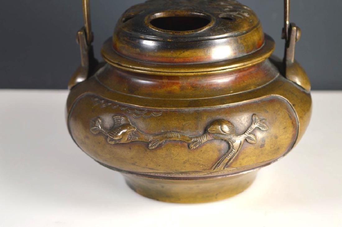 19th C Japanese Swing Handled Bronze Censer - 2