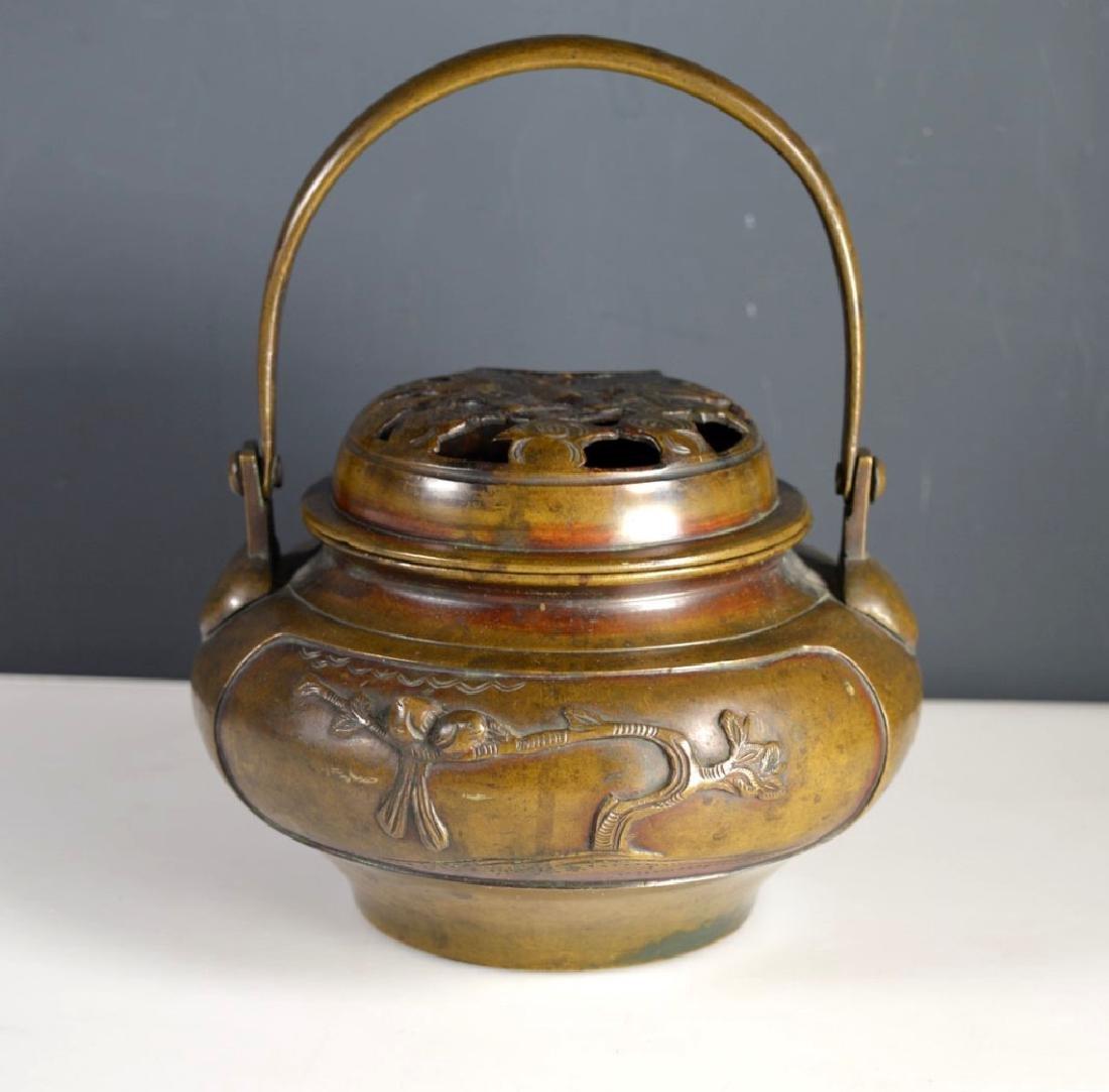 19th C Japanese Swing Handled Bronze Censer - 3