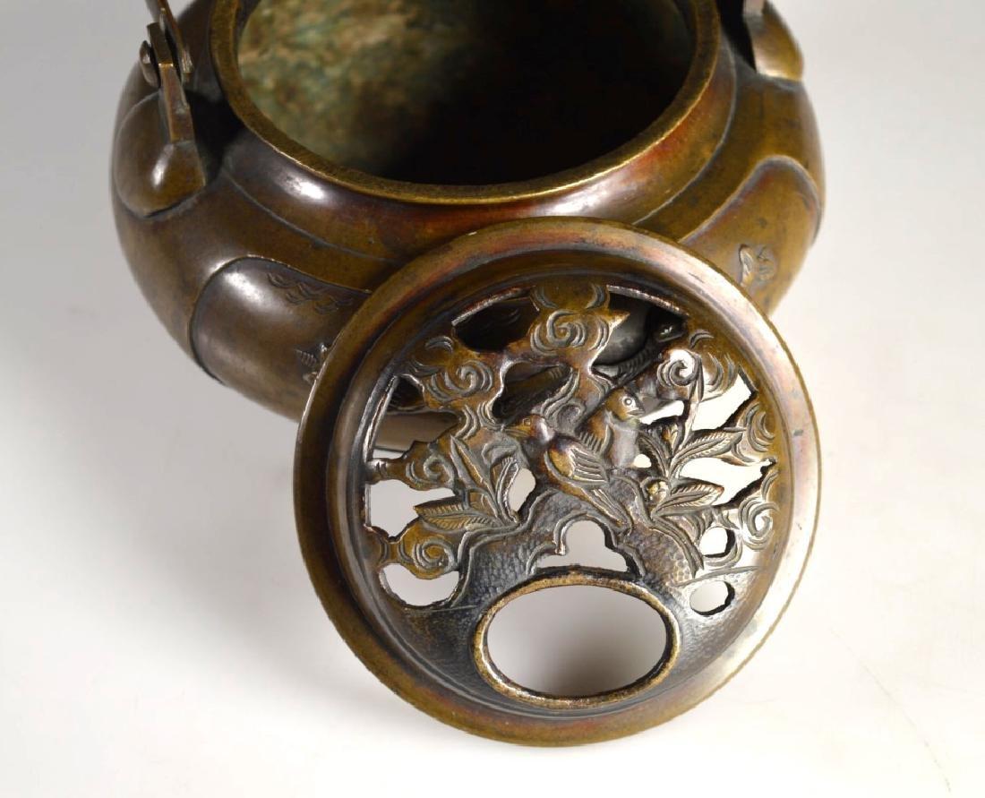 19th C Japanese Swing Handled Bronze Censer - 4