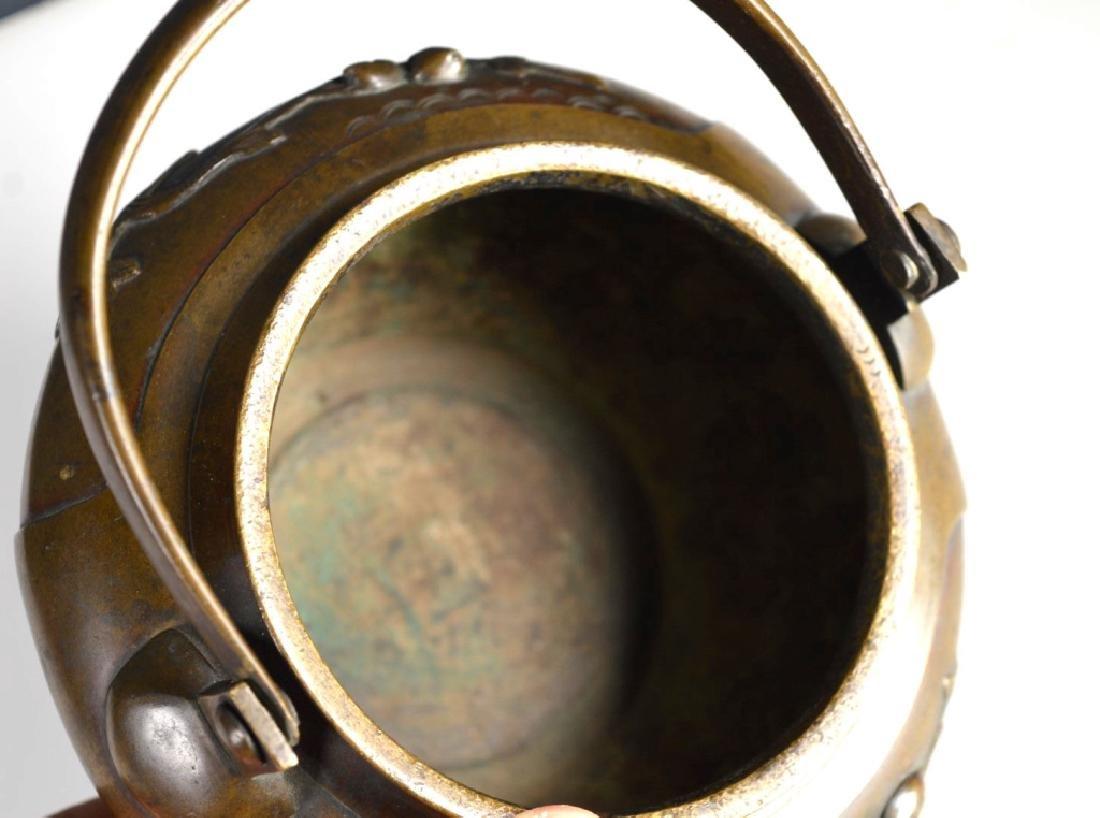 19th C Japanese Swing Handled Bronze Censer - 5
