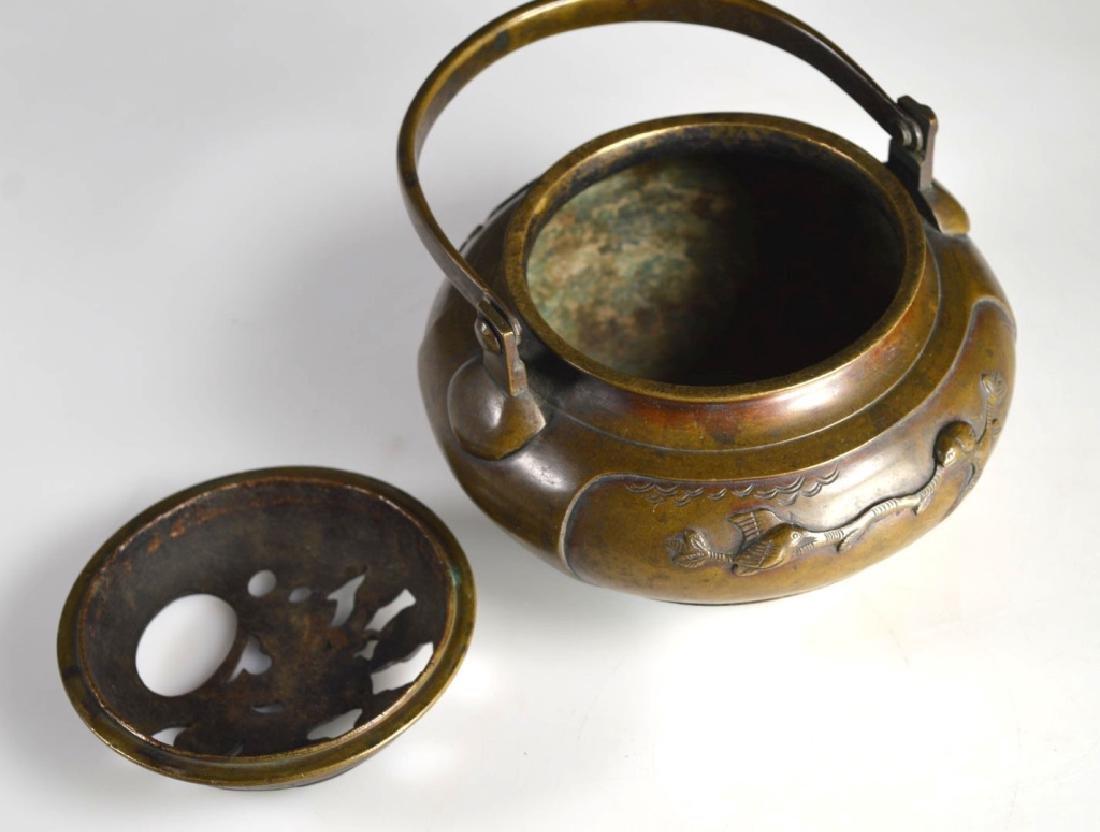 19th C Japanese Swing Handled Bronze Censer - 7
