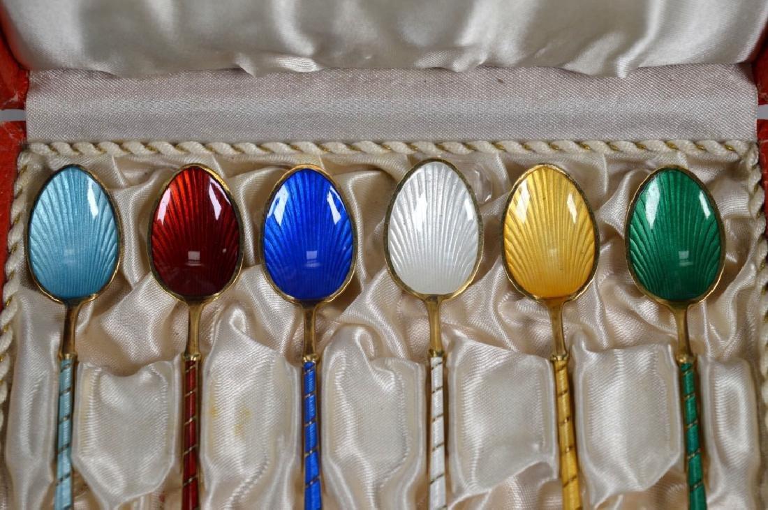6 Ela Demitasse Danish Vermeil & Enamel Spoons - 2