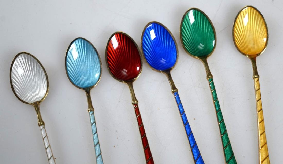 6 Ela Demitasse Danish Vermeil & Enamel Spoons - 5