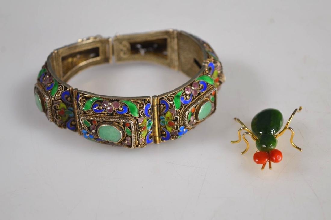 Antique Chinese Jadeite Silver Wire Bracelet; Pin