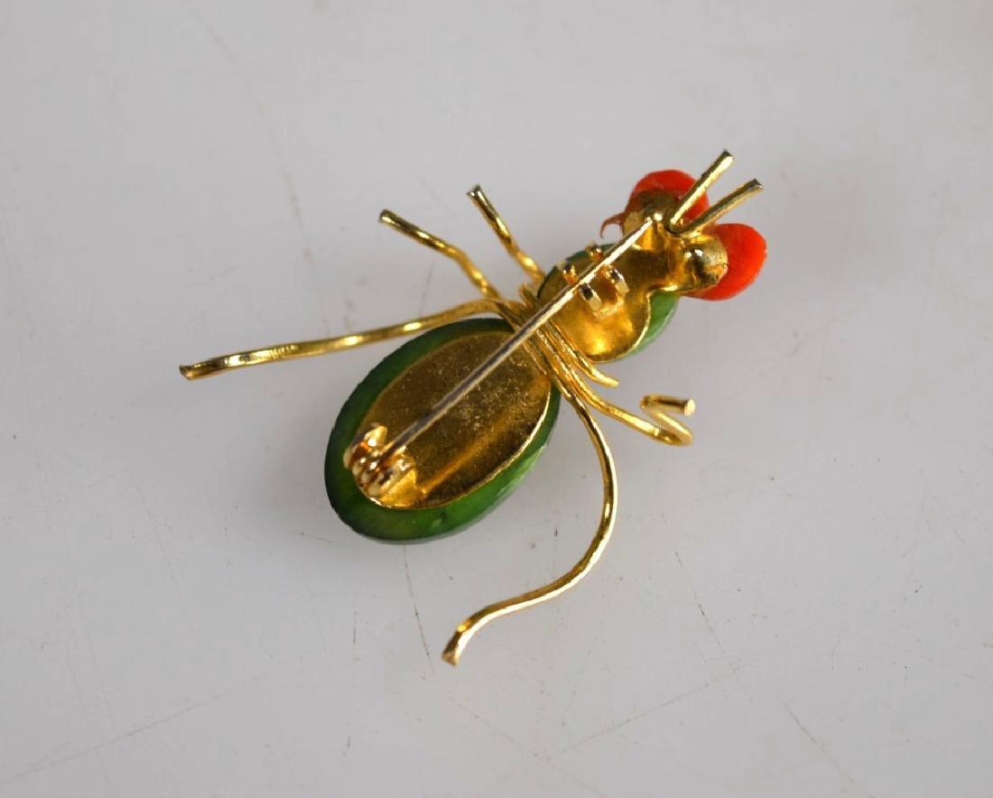 Antique Chinese Jadeite Silver Wire Bracelet; Pin - 3