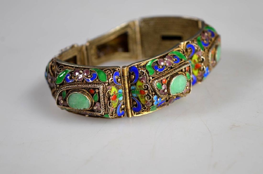 Antique Chinese Jadeite Silver Wire Bracelet; Pin - 4