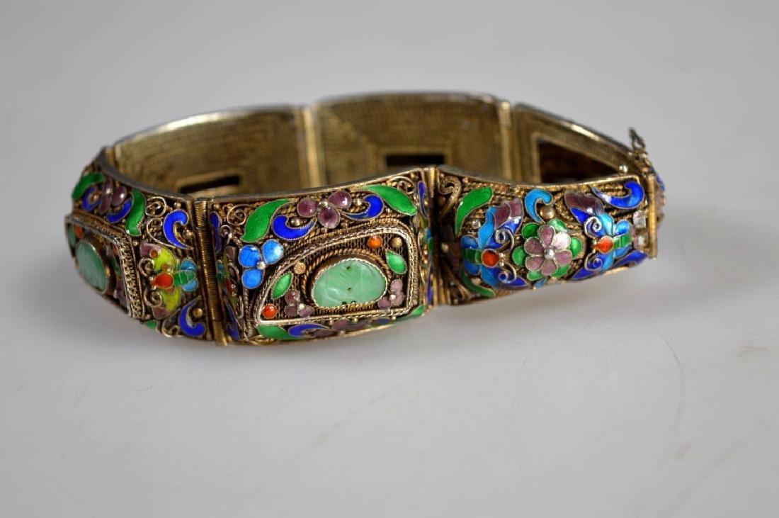 Antique Chinese Jadeite Silver Wire Bracelet; Pin - 5