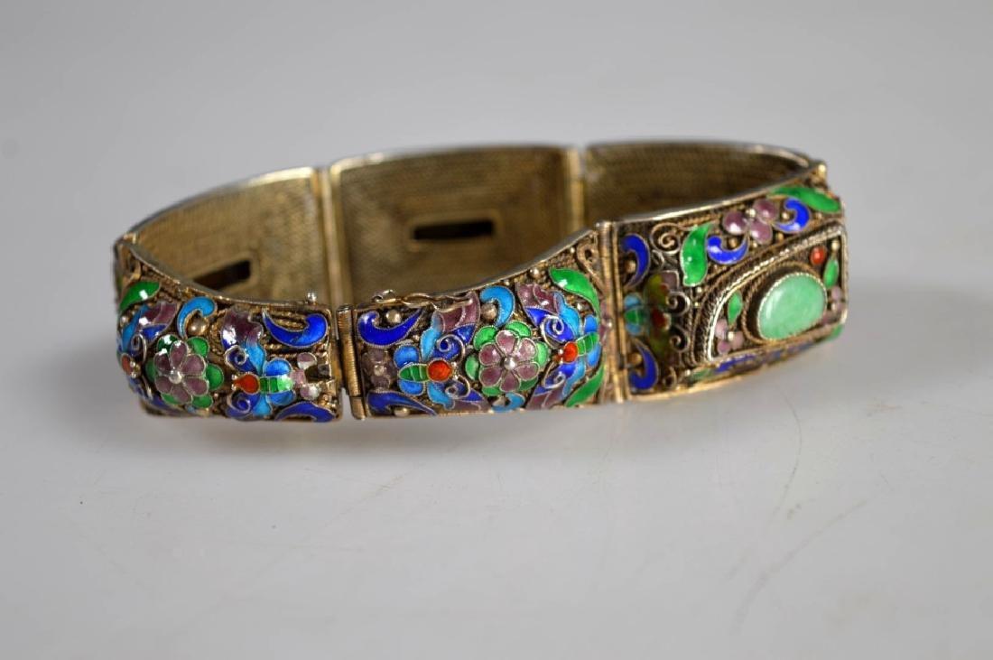 Antique Chinese Jadeite Silver Wire Bracelet; Pin - 6