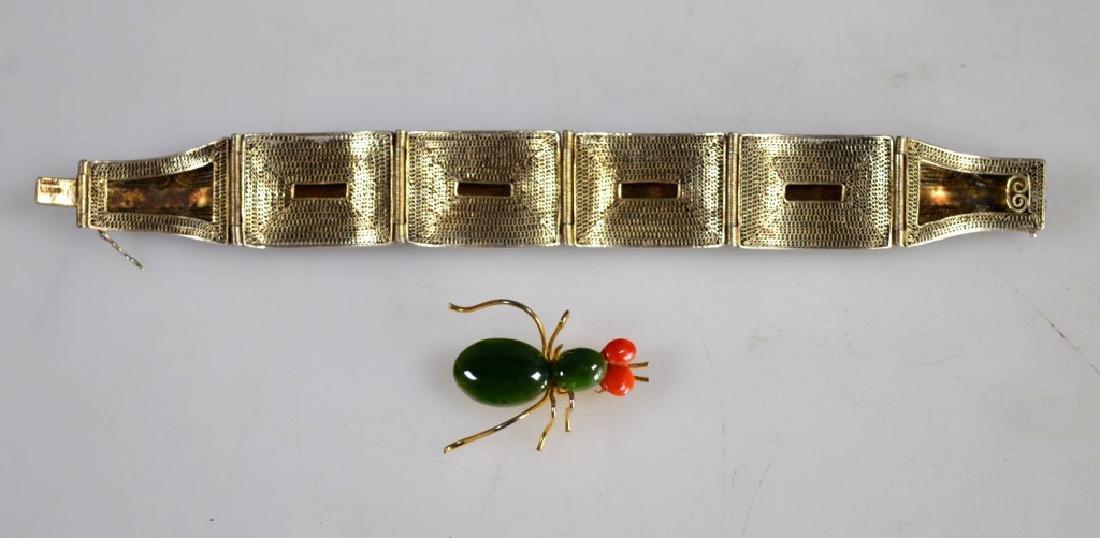 Antique Chinese Jadeite Silver Wire Bracelet; Pin - 7