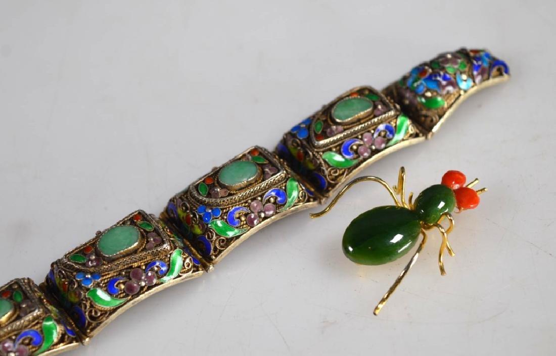 Antique Chinese Jadeite Silver Wire Bracelet; Pin - 8