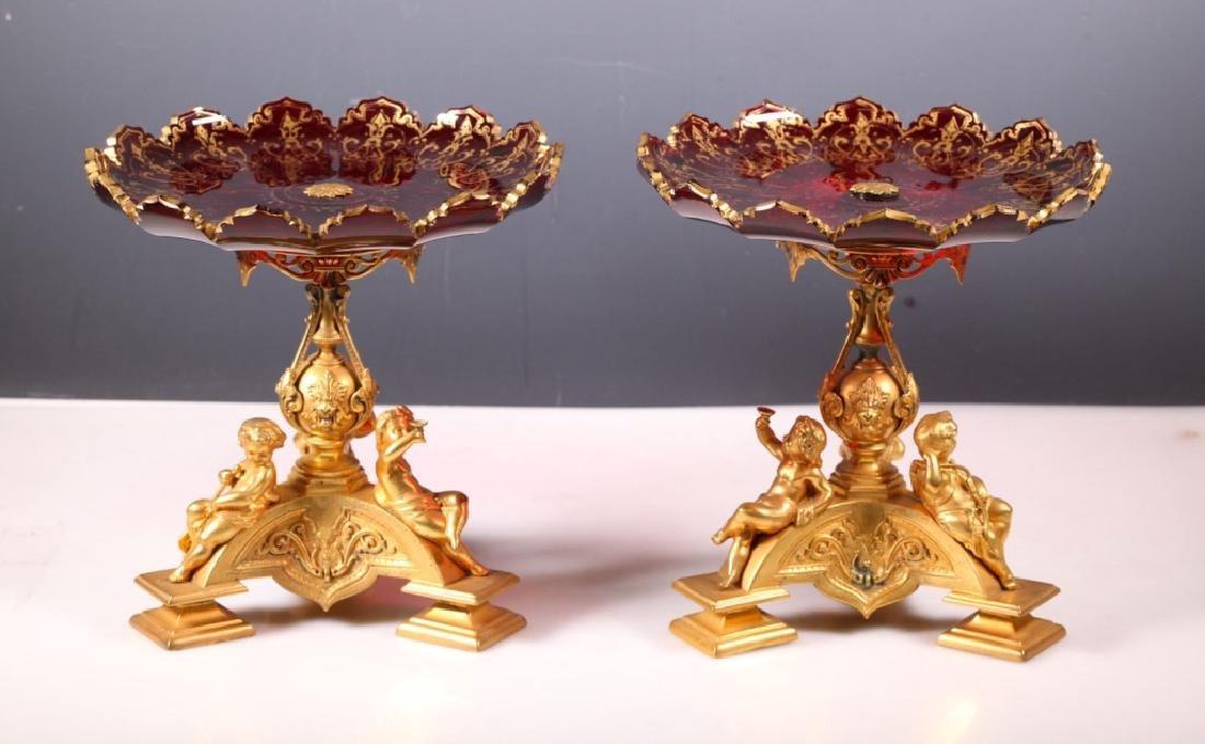 Pr. 19 C European Gilt Bronze Ruby Glass Compotes
