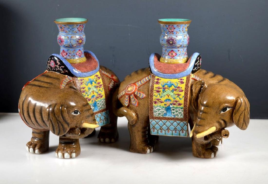 Pair Chinese Enameled Porcelain Elephants & Vases