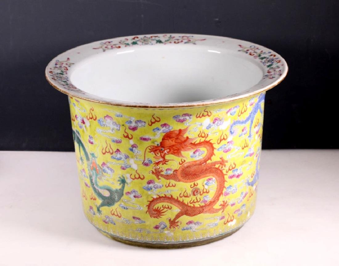 19C Chinese Yellow Glaze Porcelain Dragon Planter