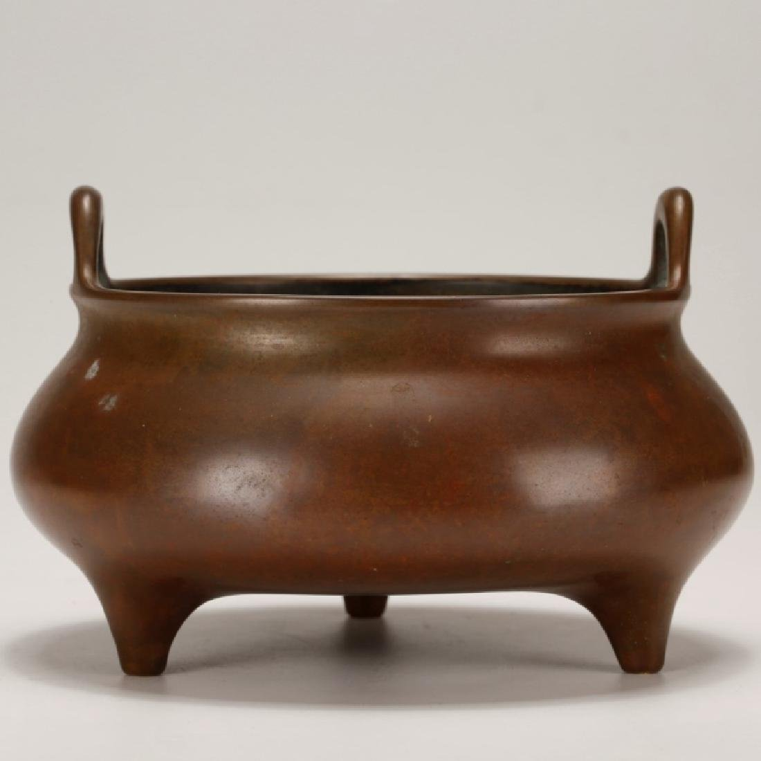 Chinese Early Qing Patinated Bronze Censer