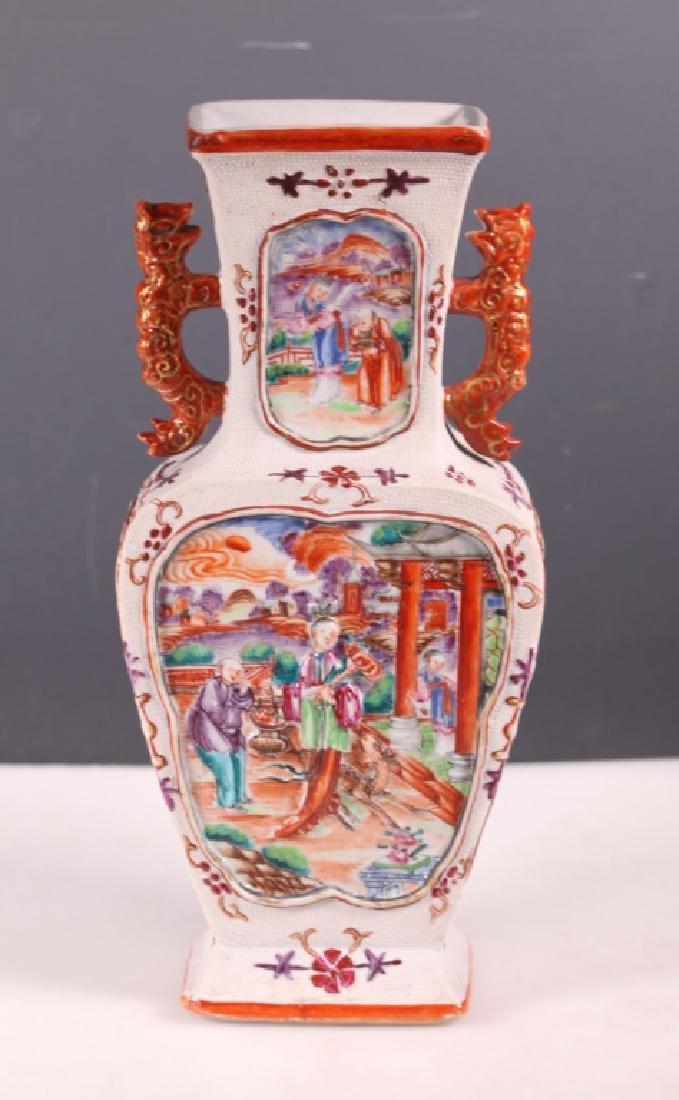 18/19 C Chinese Mandarin & Biscuit Porcelain Vase