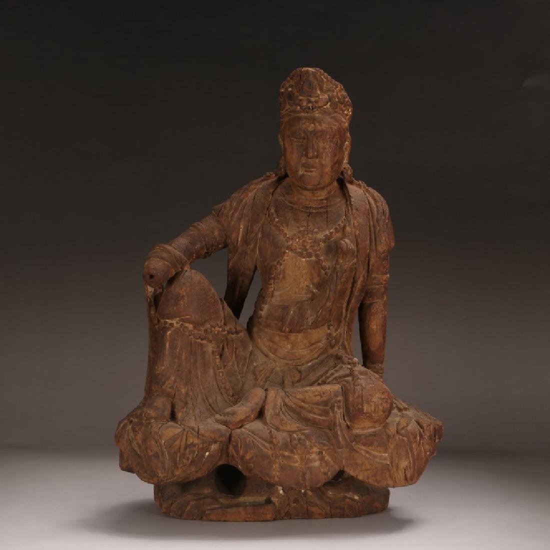 Chinese Ming Dynasty Carved Wood Guanyin