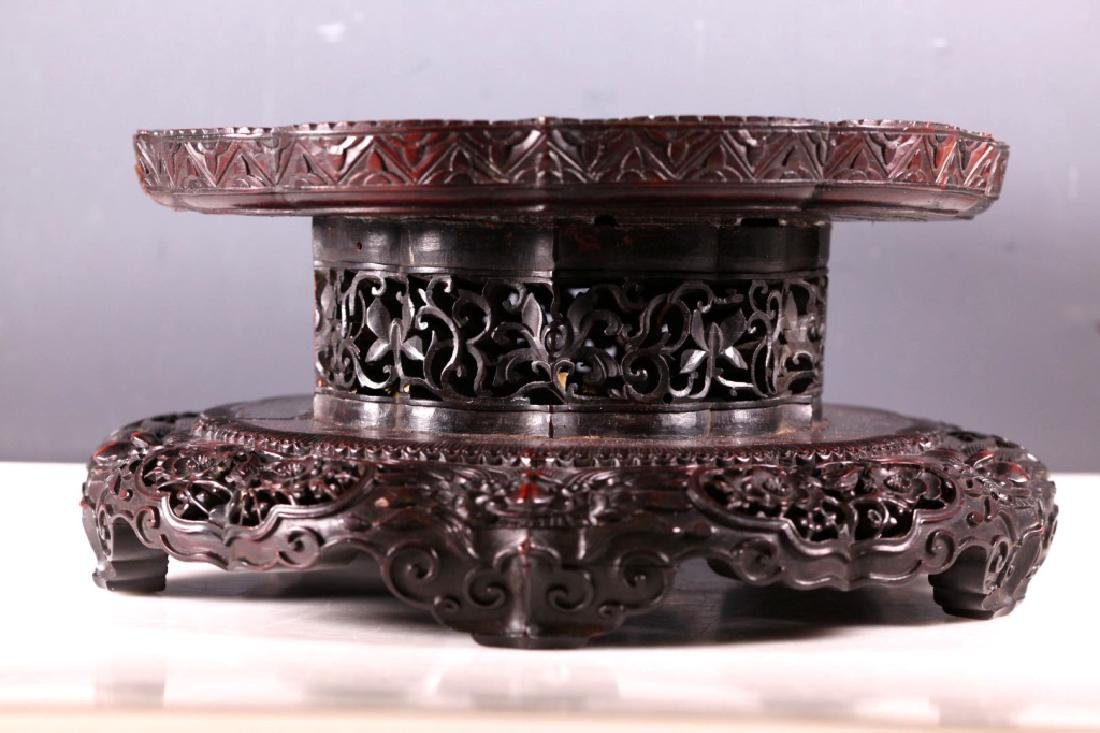 Fine Lg Chinese Carved Hardwood Stand