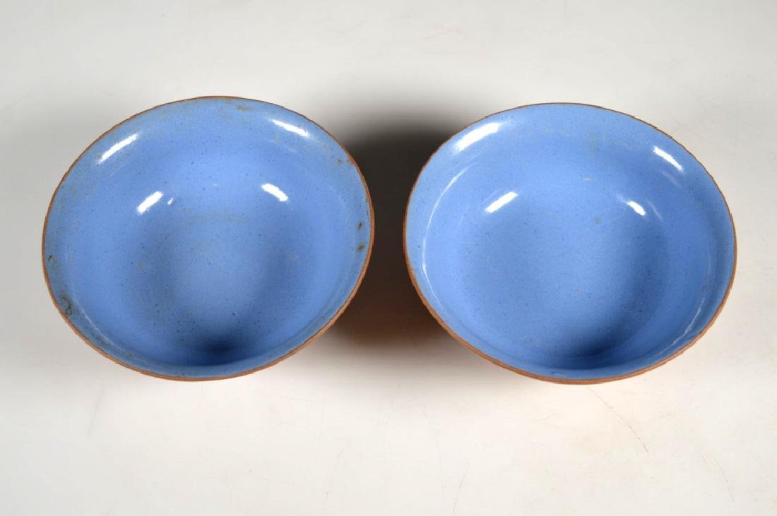 Pair Chinese Enameled Light Clay Yixing Bowls - 7