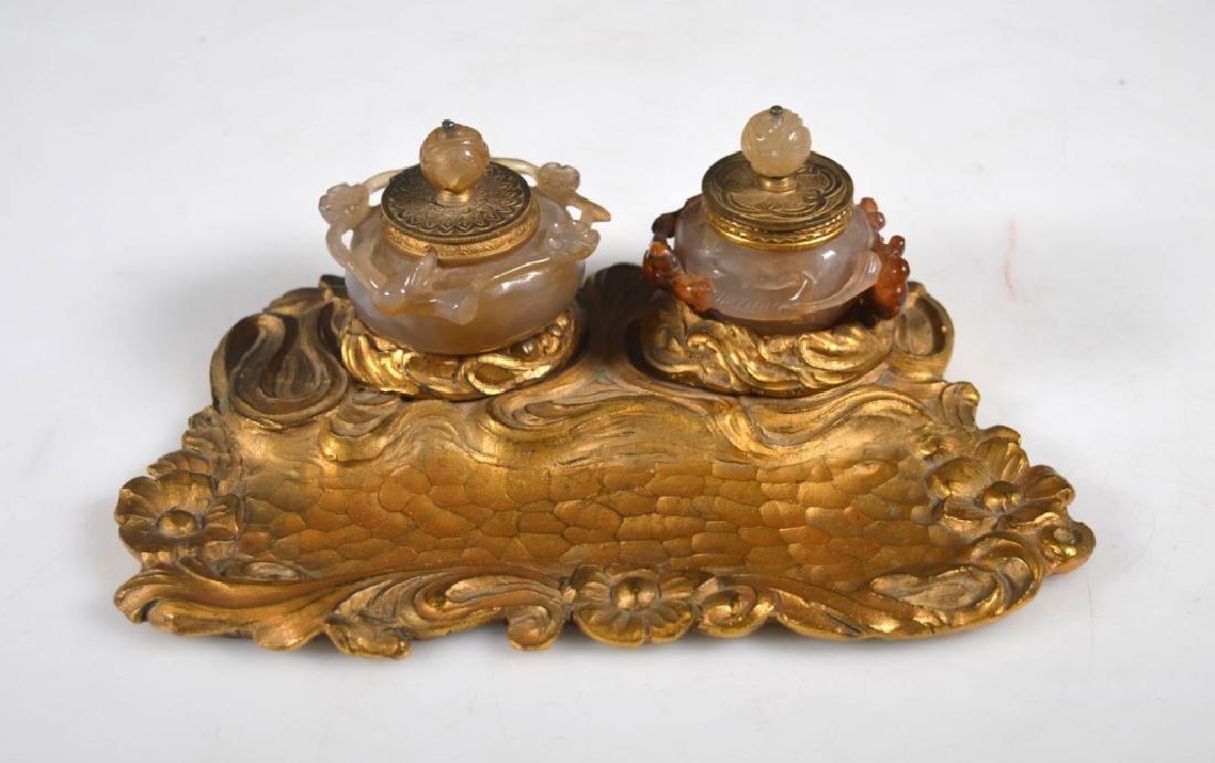 Gilt Desk Set; Chinese Carved Agate Ink Wells