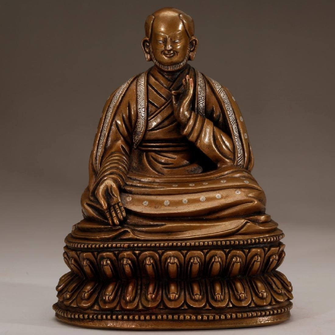 Tibet 17 C Bronze Seated Lama with Silver Inlay