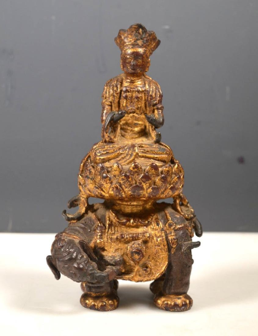 Ming Dynasty Chinese Iron Gilt Buddha on Elephant