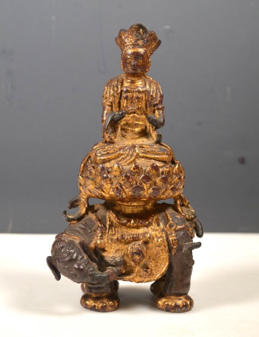 Ming Dynasty Chinese Iron Gilt Buddha on Elephant