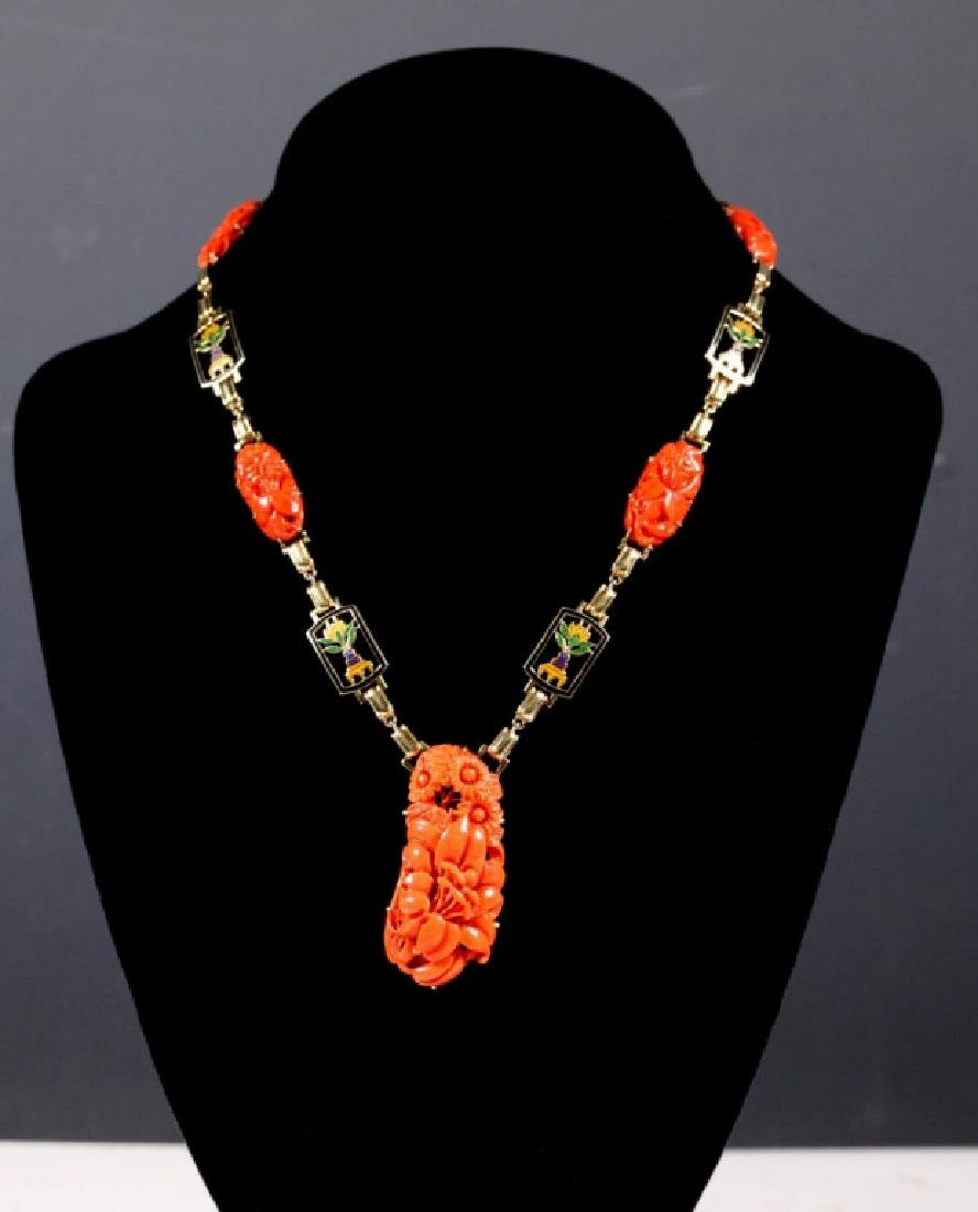 Carved Coral, 14K Yellow Gold Enamel Necklace