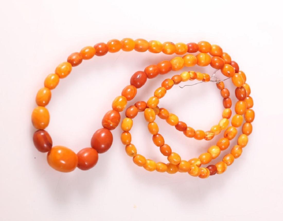 Long Butterscotch Amber Bead Necklace; 34.5G