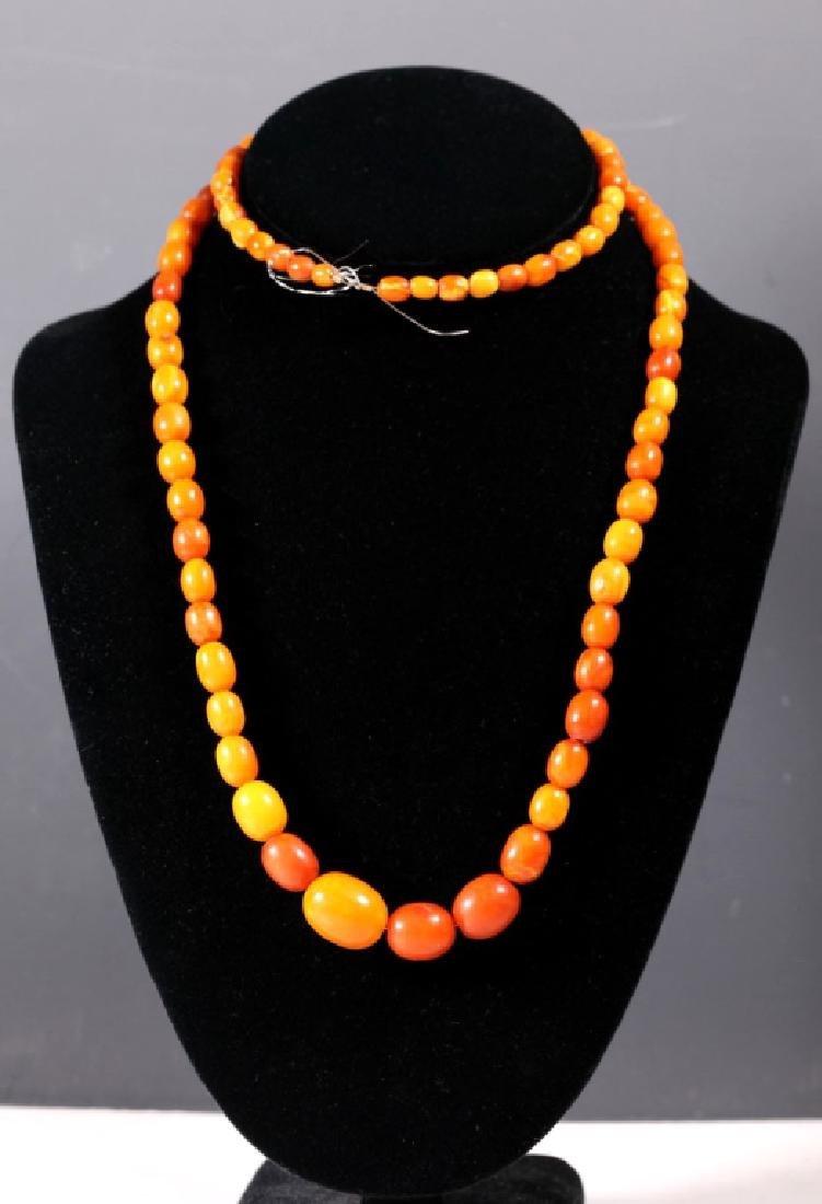 Long Butterscotch Amber Bead Necklace; 34.5G - 2