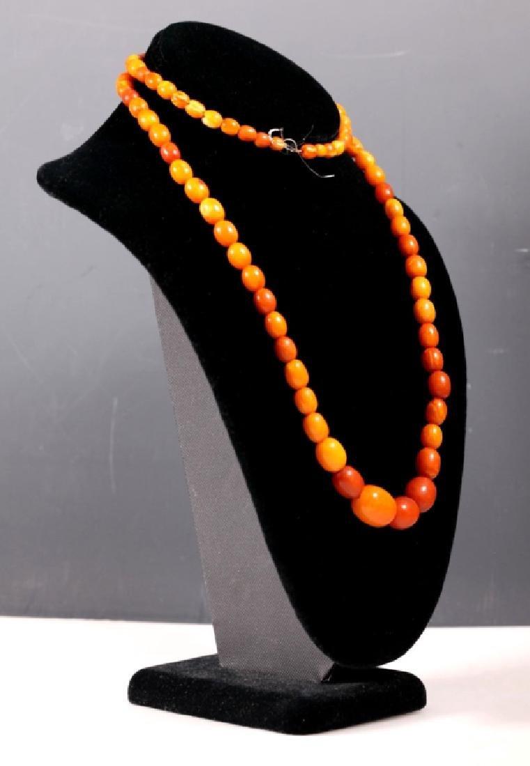 Long Butterscotch Amber Bead Necklace; 34.5G - 3