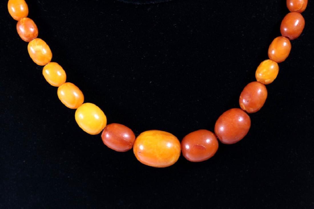Long Butterscotch Amber Bead Necklace; 34.5G - 5
